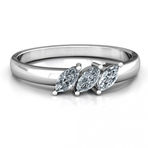 Personalised Grand Marquise Trio Ring - Handcrafted By Name My Rings™