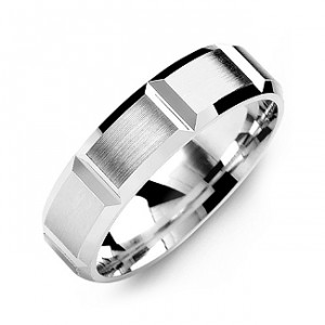 Personalised Grooved Men's Ring with Brushed Surface - Handcrafted By Name My Rings™