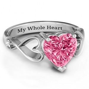 Personalised Heart Shaped Stone with Interwoven Heart Infinity Band Ring - Handcrafted By Name My Rings™