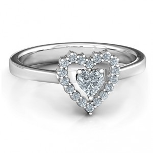 Personalised Heart in Heart Halo Ring - Handcrafted By Name My Rings™