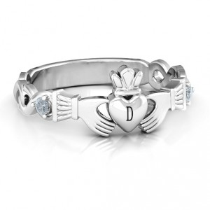 Personalised Infinity Claddagh With Side Stones Ring - Handcrafted By Name My Rings™
