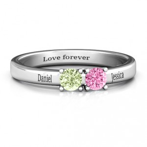 Personalised Meet In The Middle Two Stone Ring - Handcrafted By Name My Rings™