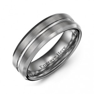 Personalised Men's Brushed Grooved Centre Beveled Tungsten Ring - Handcrafted By Name My Rings™