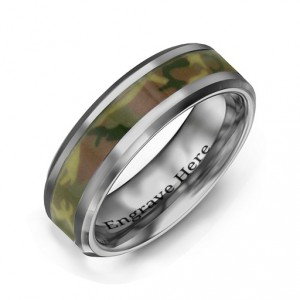 Personalised Men's Camouflage Tungsten Ring - Handcrafted By Name My Rings™