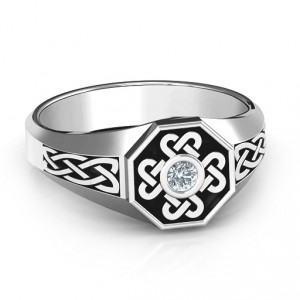 Personalised Men's Celtic Knot Signet Ring - Handcrafted By Name My Rings™