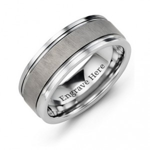 Personalised Men's Grooved Tungsten Ring with Brushed Centre - Handcrafted By Name My Rings™