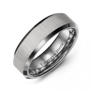Personalised Men's Satin Finish Centre Polished Tungsten Ring - Handcrafted By Name My Rings™