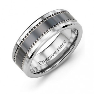 Personalised Men's Trail Tungsten Ring - Handcrafted By Name My Rings™