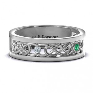 Personalised Men's TwoStone Interwoven Infinity Band - Handcrafted By Name My Rings™