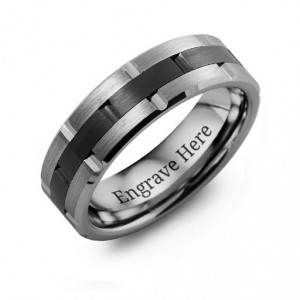 Personalised Men's Tungsten & Ceramic Grooved Brushed Ring - Handcrafted By Name My Rings™