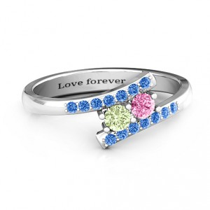 Personalised Moment We Met Two Stone Ring - Handcrafted By Name My Rings™
