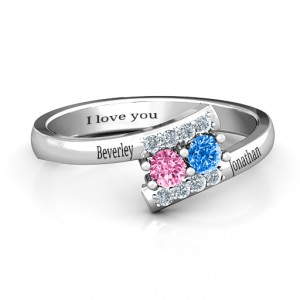 Personalised Must Be Love Two Stone Ring - Handcrafted By Name My Rings™