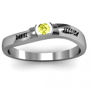 Personalised Open Bezel Set Swirl Ring - Handcrafted By Name My Rings™