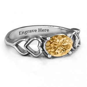 Personalised Oval Solitaire Ring with Surrounding Hearts - Handcrafted By Name My Rings™