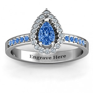 Personalised Pear Shaped Halo Ring - Handcrafted By Name My Rings™