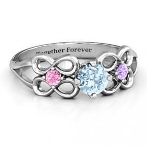 Personalised Quad Infinity Ring with Centre stone and Dual Accent Ring - Handcrafted By Name My Rings™