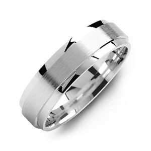 Personalised Raised Brush Centre Flat Polished Edges Men's Ring - Handcrafted By Name My Rings™