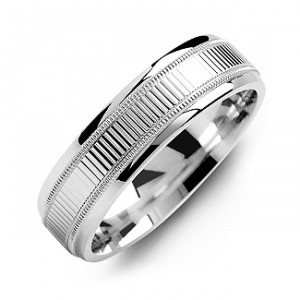 Personalised Ridged Men's Ring with Milgrain Edges - Handcrafted By Name My Rings™