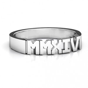 Personalised Roman Numeral Unisex Graduation Ring - Handcrafted By Name My Rings™