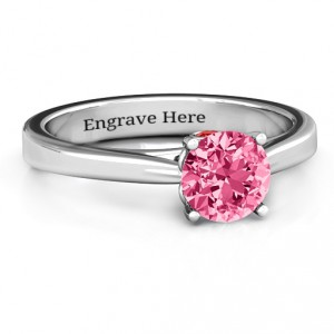 Personalised Royal Tulip Ring with Bezel Collar Stone - Handcrafted By Name My Rings™