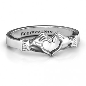 Personalised Sculpted Hand Heart Ring - Handcrafted By Name My Rings™