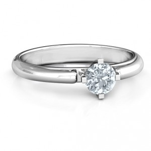 Personalised Ski Tip Solitaire Round Ring - Handcrafted By Name My Rings™