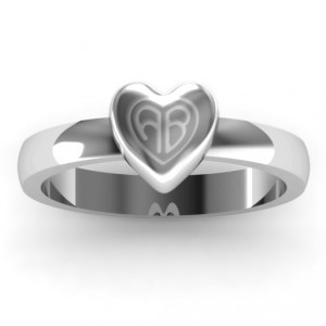 Personalised Small Engraved Monogram Heart Ring - Handcrafted By Name My Rings™