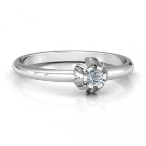 Personalised Solitaire Gemstone Ring in a Scalloped Setting - Handcrafted By Name My Rings™