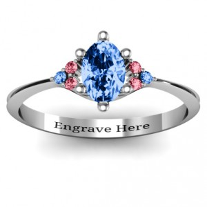 Personalised Solitaire Oval with Triple Accents Ring - Handcrafted By Name My Rings™