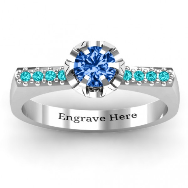 Personalised Square Shoulder with Illusion Setting Ring - Handcrafted By Name My Rings™