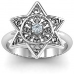 Personalised Star of David with Filigree Ring - Handcrafted By Name My Rings™