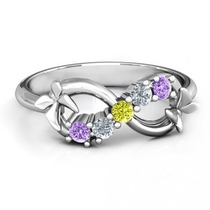 Personalised 5 Stone Infinity with Soaring Butterflies - Handcrafted By Name My Rings™