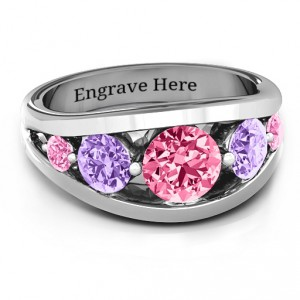 Personalised 5 Stone Split Shank Ring - Handcrafted By Name My Rings™