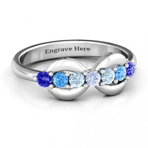 Personalised 7 Stones Infinity Ring - Handcrafted By Name My Rings™