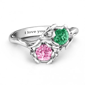 Personalised Beleaf In Love Double Gemstone Floral Ring - Handcrafted By Name My Rings™