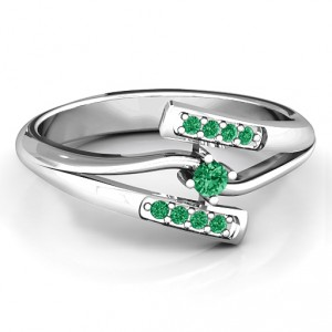 Personalised Double Bypass Channel Set Accent Ring - Handcrafted By Name My Rings™