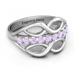 Personalised Double Infinity Ring with Accents - Handcrafted By Name My Rings™
