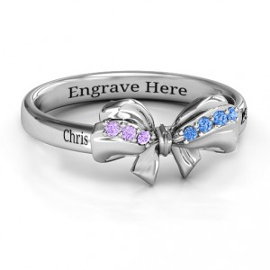 Personalised Fancy Stone Set Bow Ring - Handcrafted By Name My Rings™