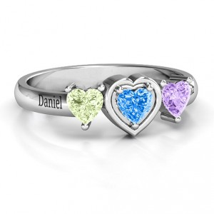 Personalised Heart Stone with Twin Heart Accents Ring - Handcrafted By Name My Rings™