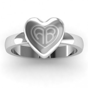 Personalised Large Engraved Monogram Heart Ring - Handcrafted By Name My Rings™