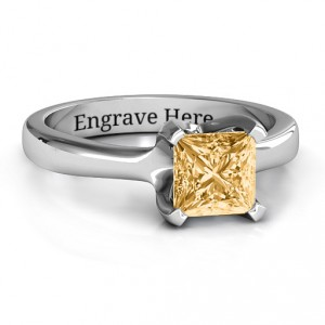 Personalised Large Princess Solitaire Ring - Handcrafted By Name My Rings™
