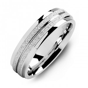 Personalised LaserFinish Men's Ring with Polished Edges - Handcrafted By Name My Rings™