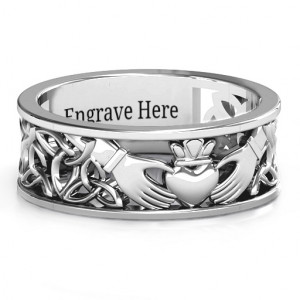 Personalised Men's Celtic Claddagh Band Ring - Handcrafted By Name My Rings™