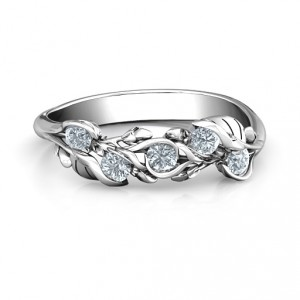 Personalised Organic Leaf Five Stone Family Ring - Handcrafted By Name My Rings™