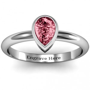 Personalised Pear with Raised Bezel Set Ring - Handcrafted By Name My Rings™