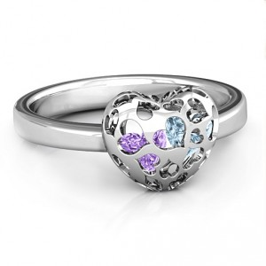 Personalised Petite Caged Hearts Ring with 13 Stones - Handcrafted By Name My Rings™