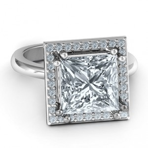 Personalised Princess Cut Cocktail Ring with Halo - Handcrafted By Name My Rings™