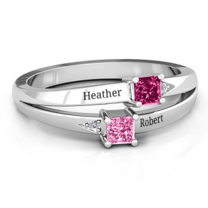 Personalised Princess Stone and Accent Ring - Handcrafted By Name My Rings™