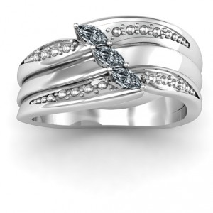 Personalised Shimmering TripleMarquise Ring - Handcrafted By Name My Rings™