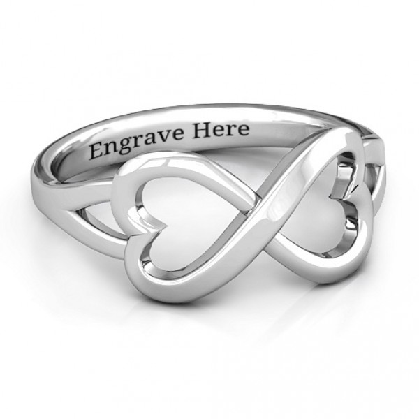 Personalised Simple Double Heart Infinity Ring - Handcrafted By Name My Rings™
